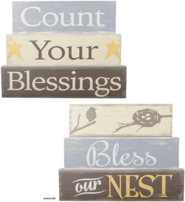 Count Your Blessings/Bless Our Next Reversible Block Art  -