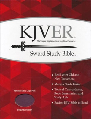 KJVer (Easy Reader) Large Print Sword Study Bible, Personal Size, Ultrasoft Burgundy  -
