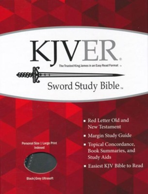 KJVer (Easy Reader) Large Print Sword Study Bible, Personal Size, Ultrasoft Black/Grey, Thumb Indexed  -