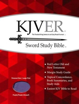 KJVer (Easy Reader) Large Print Sword Study Bible, Personal Size, Ultrasoft Dark Purple/Light Purple  -