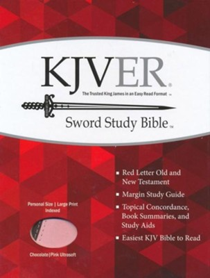 KJVer (Easy Reader) Large Print Sword Study Bible, Personal Size, Ultrasoft Chocolate/Pink, Thumb Indexed  -