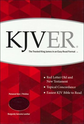 KJVer (Easy Reader) Personal Size Bible, Genuine Leather Burgundy  -