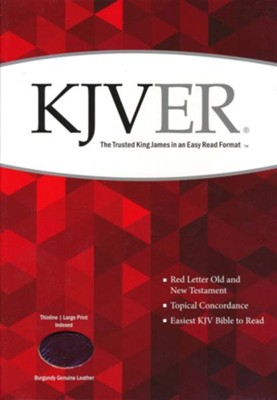 KJVer (Easy Reader) Large Print Thinline Bible, Genuine Leather Burgundy, Thumb Indexed  -