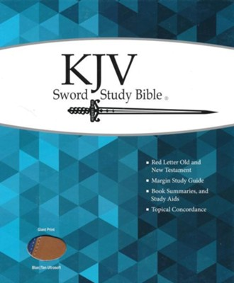 KJV Giant Print Sword Study Bible, Ultrasoft Blue/Tan, Thumb Indexed  -