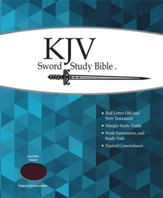 KJV Giant Print Sword Study Bible, Genuine Leather Burgundy, Thumb Indexed  -