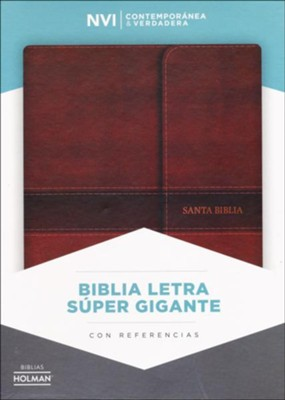 Biblia NVI Letra Super Gigante, Piel Fab. Marron, c/Cierre, Ind.  (NVI Super Giant Print Bible, Bon.Leather, Brown, w/Flap, I.)   -