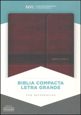 Biblia NVI Compacta Letra Grande, Simil Piel Marron con Cierre  (NVI Compact Large Print Bible, Brown Imit. Leather W/ Flap)  -
