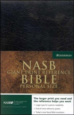 NAS Giant Print Reference Bible, Personal Size, Imitation  leather, Black, Thumb-Indexed  -