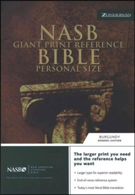 NAS Giant Print Reference Bible, Personal Size, Bonded leather,  Burgundy, Thumb-Indexed  -