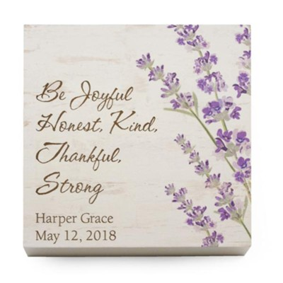 Personalized, Wooden Sign with Flowers, Be Joyful,  Small, White  -