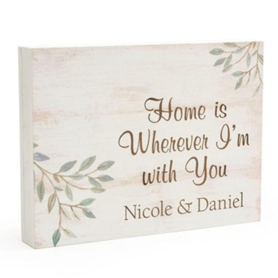 Personalized, Wooden Sign with Vines, Home, Small,  White  -