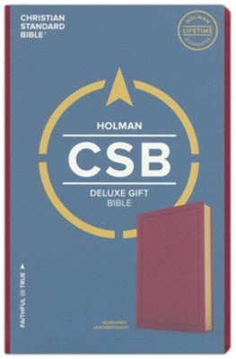 CSB Deluxe Gift Bible--soft leather-look, burgundy  -