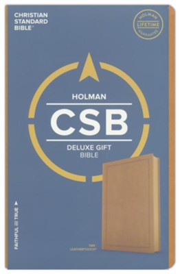 CSB Deluxe Gift Bible--soft leather-look, tan  -