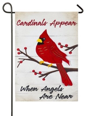 Cardinals Appear When Angels Are Near Linen Flag, Small  -