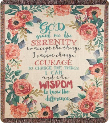 Serenity Prayer, Floral Throw  -     By: Jo Molton