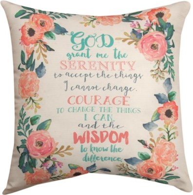 Serenity Prayer, Floral Pillow  -     By: Jo Molton