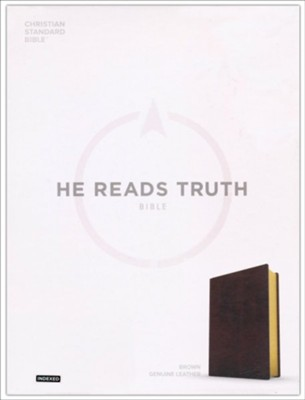 CSB He Reads Truth Bible, Brown Genuine Leather with Thumb Index  -