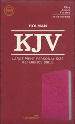 KJV Large Print Personal Size Reference Bible, Pink Leathertouch Imitation Leather  -