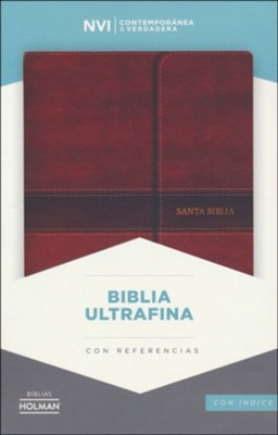 Biblia Ultrafina NVI, Piel Imit. Marron, Solapa c/Iman, Ind.  (NVI Ultrathin Bible, Brown Bon. Leather Mag. Flap, Ind.)  -