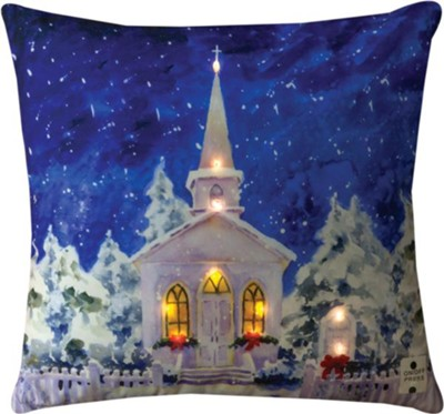 A Church in the Snow, Lighted Pillow  -