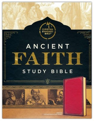 CSB Ancient Faith Study Bible-soft leather-look over board,  crimson (indexed)  -