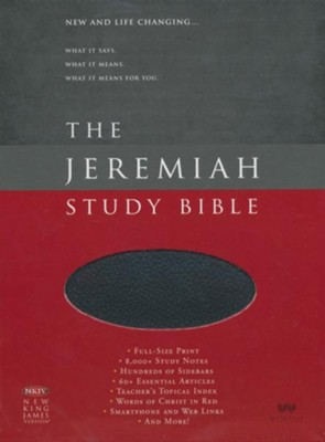 NKJV The Jeremiah Study Bible, Genuine leather, Black (indexed)   -     By: Dr. David Jeremiah
