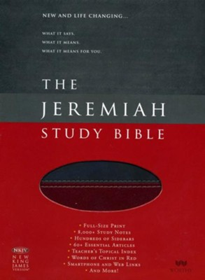 NKJV The Jeremiah Study Bible, Soft leather-look, Charcoal/burgundy - Slightly Imperfect  -