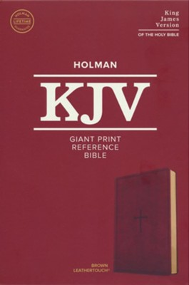 KJV Giant-Print Reference Bible--soft leather-look, brown  -
