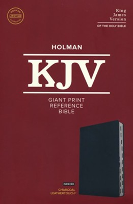 KJV Giant-Print Reference Bible--soft leather-look, charcoal (indexed)  -