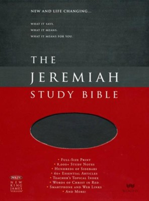 NKJV Jeremiah Study Bible, Soft Leather-look, Charcoal w/ burnished edges  -     By: Dr. David Jeremiah