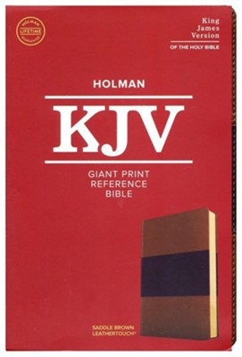 KJV Giant-Print Reference Bible--soft leather-look, saddle brown  -