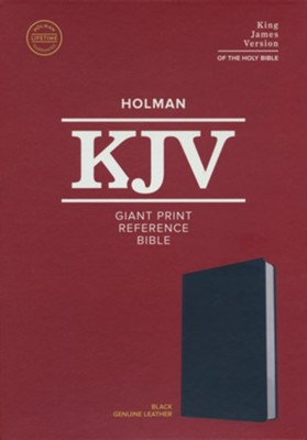 KJV Giant-Print Reference Bible--genuine leather, black  -