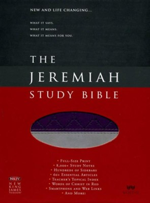 NKJV Jeremiah Study Bible, soft leather-look, purple/gray  -     By: Dr. David Jeremiah