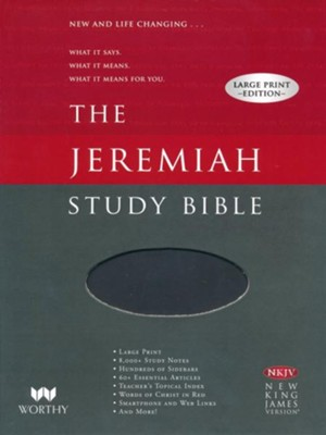 NKJV Jeremiah Study Bible, Large Print, Imitation Leather, black   -     By: Dr. David Jeremiah