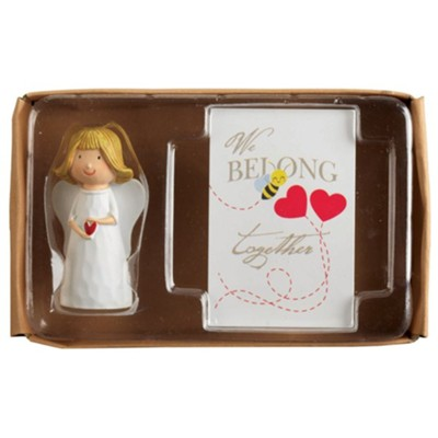Angel Figurine with We Belong Together Itty Bitty Blessings Card Gift Boxed Set  -