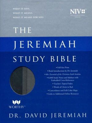 NIV Jeremiah Study Bible, Imitation Leather, gray  -     By: David Jeremiah