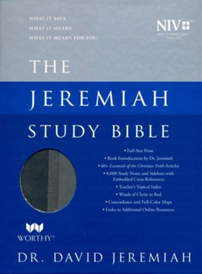 NIV Jeremiah Study Bible, Imitation Leather, gray indexed  -     By: David Jeremiah