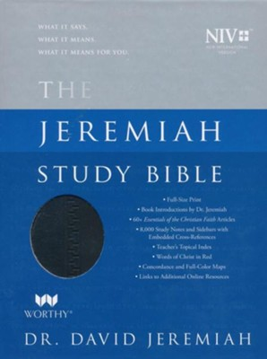 NIV Jeremiah Study Bible, Imitation Leather, black, indexed  -     By: David Jeremiah