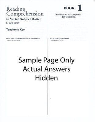 Reading Comprehension (in Varied Subject Matter) Book 1 Grade 3, Answer Key   -     By: Jane Ervin