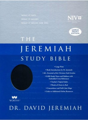 NIV Jeremiah Study Bible - Large Print - Indexed Imitation Leather, black  -     By: David Jeremiah