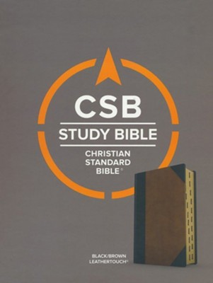 CSB Study Bible--soft leather-look, black/tan  -