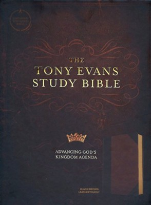 CSB Tony Evans Study Bible--soft leather-look, black/brown  -