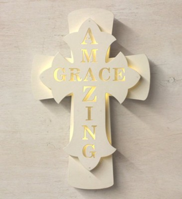 Amazing Grace Lighted Wall Cross   -