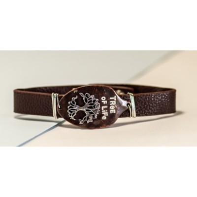 Tree Of Life Bronze Spoon Snap Bracelet, Leather-Like  -