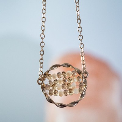 Beaded Glass Circle Necklace, Ivory  -