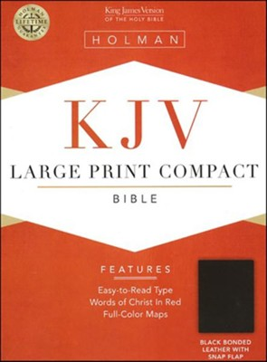 KJV Compact Bible, Large Print, Bonded leather, Black  w/magnetic flap    -