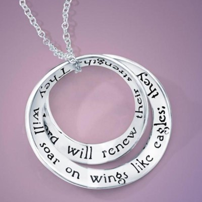 Soar On Wings Sterling Silver Double Mobius Pendant, Isaiah 40:31            -