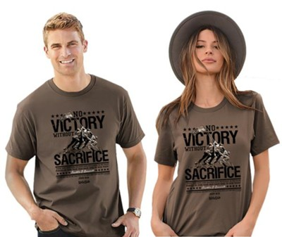 No Victory Without Sacrifice Shirt, Brown, XXX-Large , Unisex  -