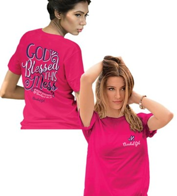 God Blessed This Mess Shirt, Pink, Large  -