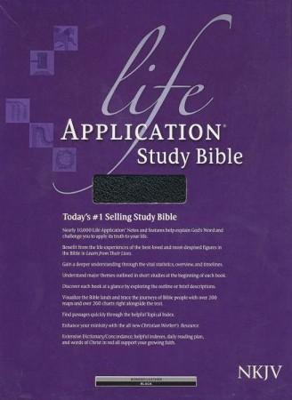 NKJV Life Application Study Bible, Black Bonded Leather, Thumb-Indexed